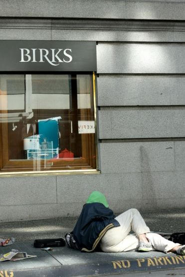 Tour of Two Cities - Homeless Person outside Luxury Jewellers