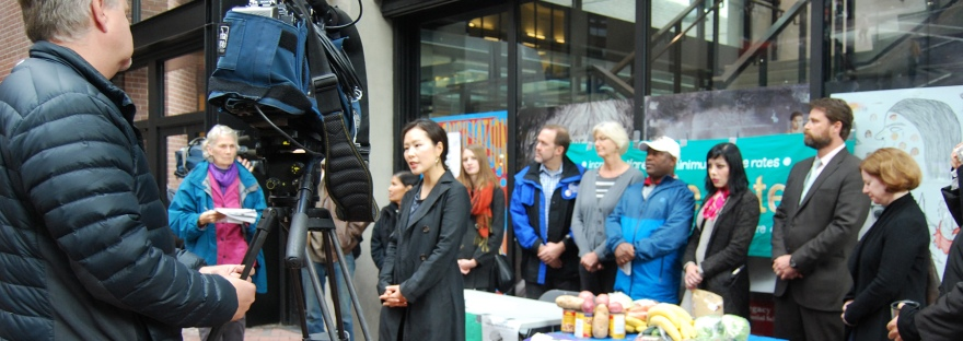 Photo of the launch of the 2014 Welfare Food Challenge – TV cameras, media and participants