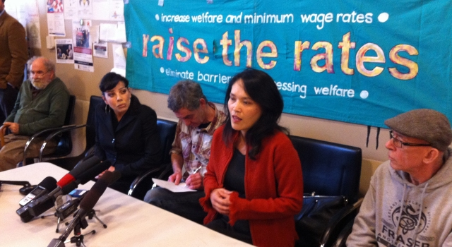 Bif Naked and Jenny Kwan with members of the Raise the Rates Coalition launch the 2015 Welfare Food Challenge at the Aboriginal Front Door on Oct 27th, photo by Jean Swanson